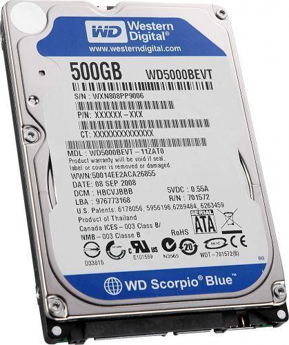 Western Digital WD5000BEVT Scorpio Blue 500GB interne Festplatte (2,5 Zoll, 5400RPM, 8MB Cache, S-ATA)